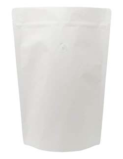 2 lb Stand Up Pouch with valve White Kraft WHITE KRAFT/PET/ALU/LLDPE