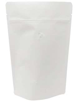 8 oz Stand Up Pouch with valve White Kraft WHITE KRAFT/PET/ALU/LLDPE