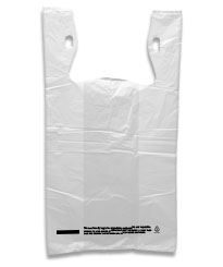 Plain White T-Shirt Bags with Suffocation Warning