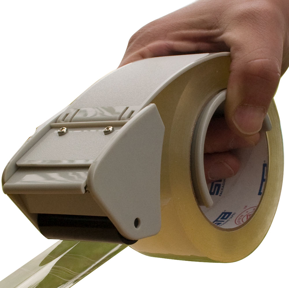 A tape dispenser is an object that holds a roll of tape and has a mechanism at one end to shear the tape. Dispensers vary widely based on the tape they dispense. Abundant and most common, clear tape dispensers (like those used in an office or at home) are commonly made of .