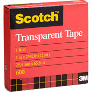 3M 1.5 inch  600 Scotch Single Roll Premium Transparent Film Tape Clear