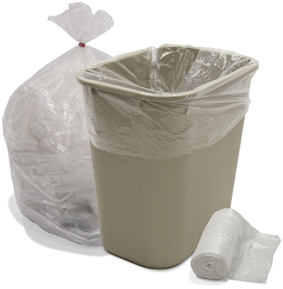 Trash Can Liner Bags : Gallon natural high density trash bags micron