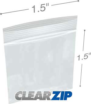 1.5 x 2 Zipper Locking Bags Clearzip 2 Mil