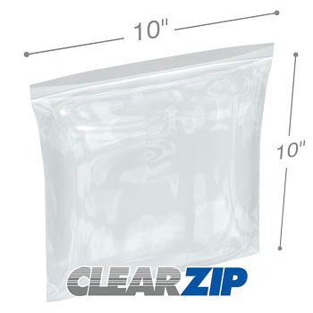 10 x 10 High Clarity Zipper Locking 2 Mil�Polypropylene Bags