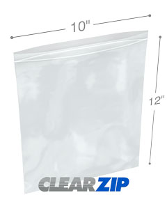 10 x 12 Clearzip® Lock Top 2 Mil Bags