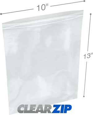 10 x 13 Clearzip® Lock Top 2 Mil Bags