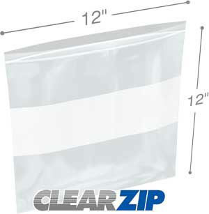 12x12 White Block Zipper Lock Bags