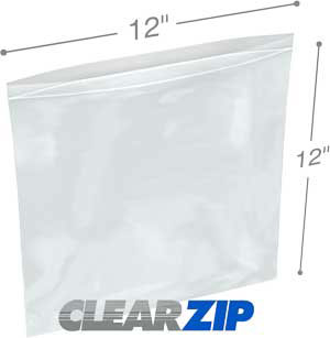 12 x 12 Clearzip® Lock Top 2 Mil Bags