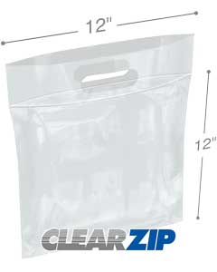12 in x 12 in Zipper Locking Handle Bags - 3 Mil
