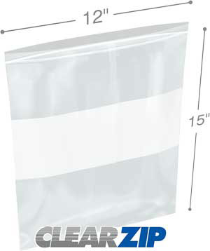 12x15 White Block Zipper Lock Bags