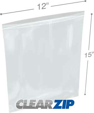 12 x 15 Clearzip® Lock Top 2 Mil Bags