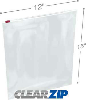 12x15 3 Mil Slider Lock Zip Bags