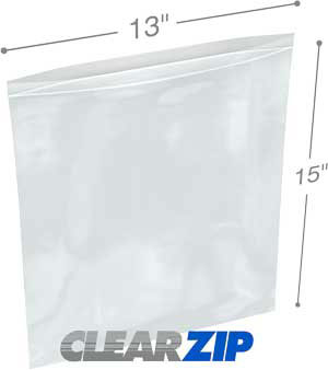 13 x 15 Clearzip® Lock Top 2 Mil Bags