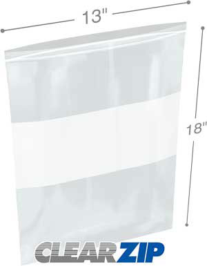 13x18 White Block Zipper Lock Bags