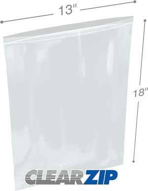 13x18 Clearzip® Lock Top 4 Mil Bags