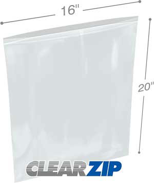 16x20 Clearzip® Lock Top 4 Mil Bags