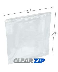 18 x 20 Clearzip® Lock Top 2 Mil Bags