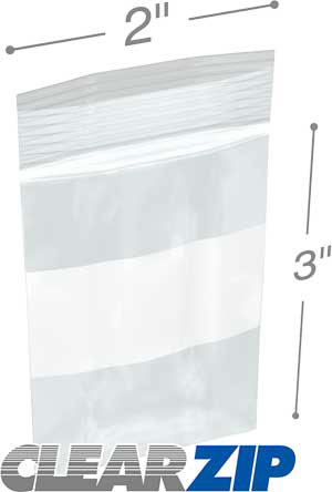 2x3 White Block Zipper Lock Bags