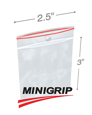 2.5x3 4Mil MiniGrip Reclosable Plastic Bags with Hang Hole