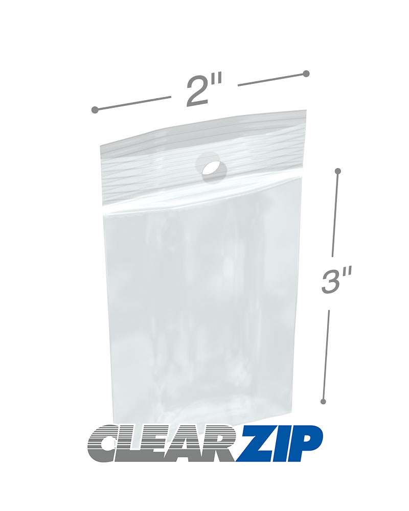 """1000-2x3/"""" 2 Mil Hang Hole Reclosable Poly Bag Clear"""