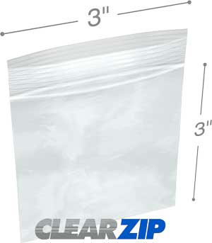 3 x 3 Zipper Bags Clearzip 2-mil