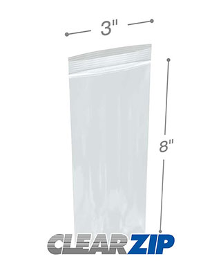 3 x 8 Zipper Locking Bags Clearzip 2 Mil