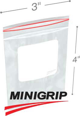 3x4 2mil MiniGrip Reclosable Plastic Bags with Whiteblock