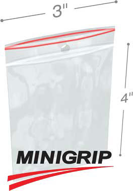 3x4 4Mil MiniGrip Reclosable Plastic Bags with Hang Hole