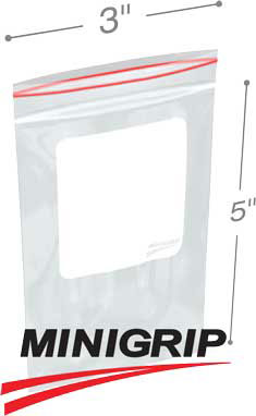 3x5 2Mil Minigrip Reclosable Plastic Bags with Whiteblock
