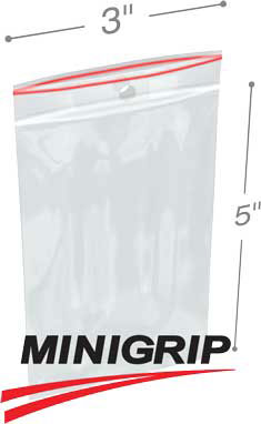 3x5 4Mil MiniGrip Reclosable Plastic Bags with Hang Hole