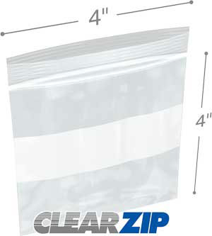 4x4 White Block Zipper Lock Bags