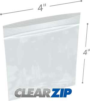 4 x 4 Clearzip® Lock Top 2 Mil Bags