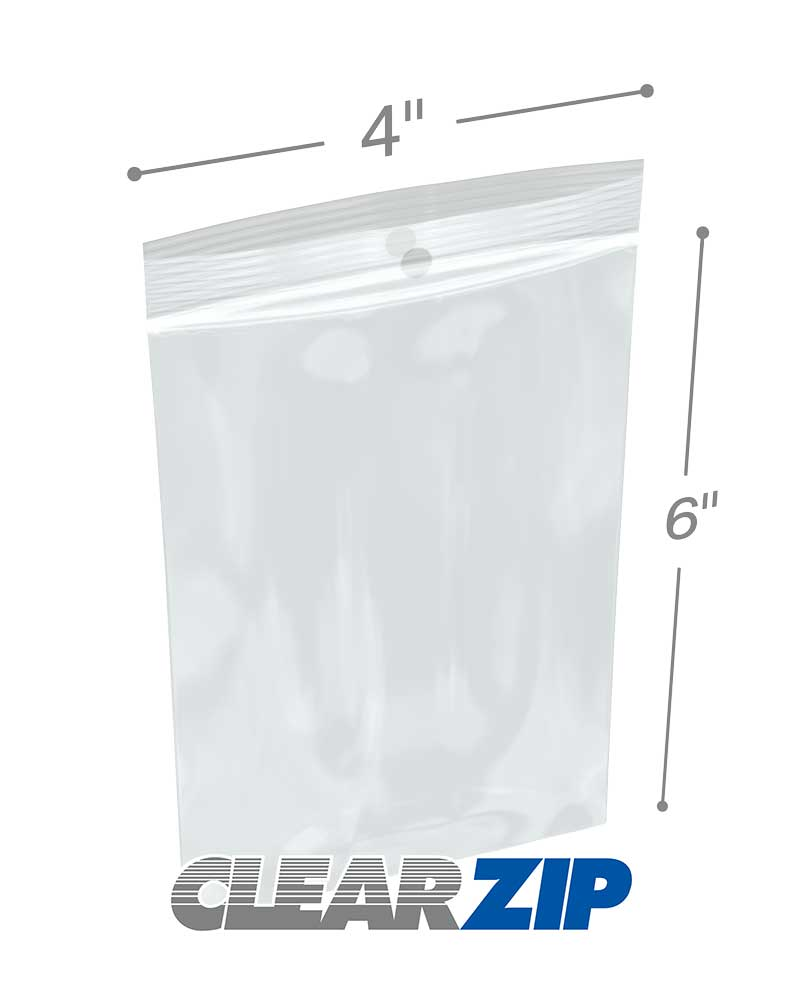 4 X 6 Hang Hole Zipper Locking 2 Mil Polypropylene Bags
