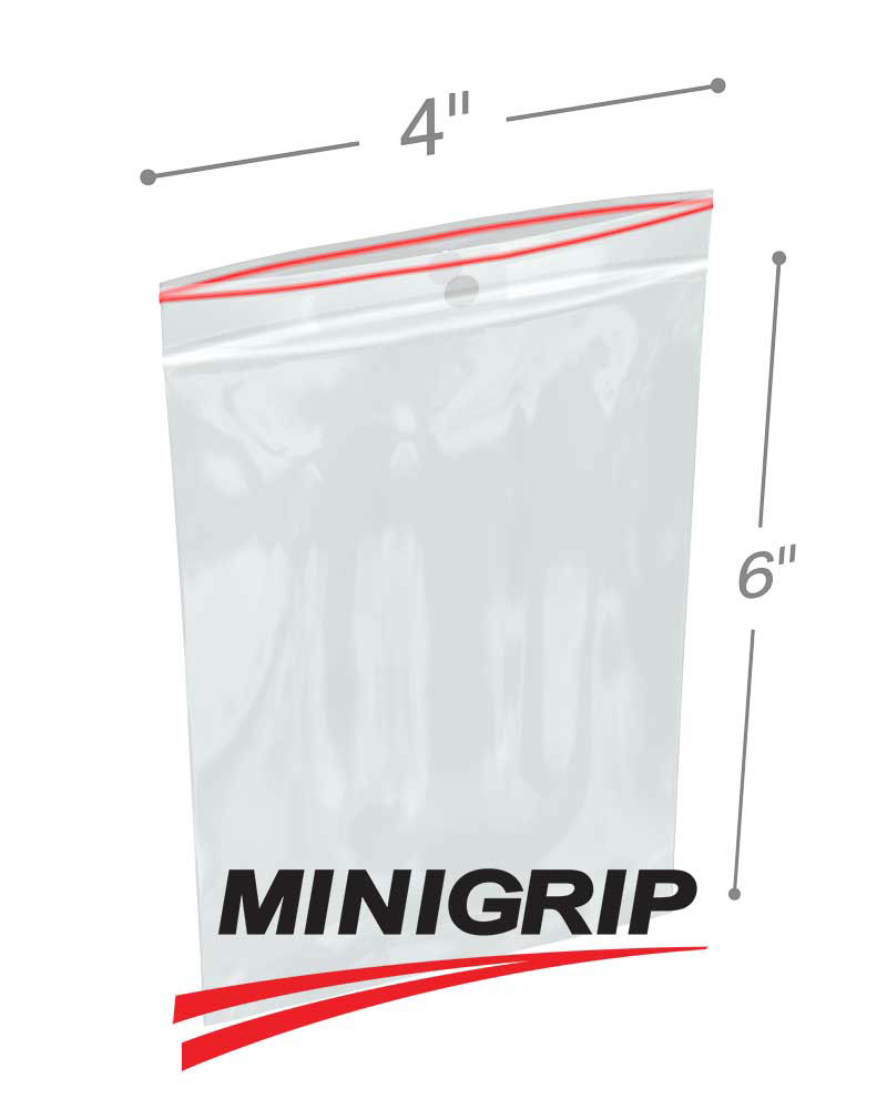 4 x 6 4 mil reclosable minigrip plastic bags with hang hole