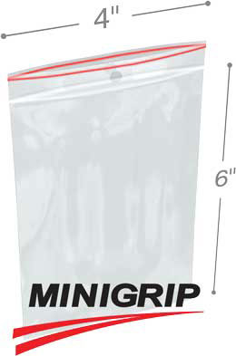 4x6 4Mil MiniGrip Reclosable Plastic Bags with Hang Hole