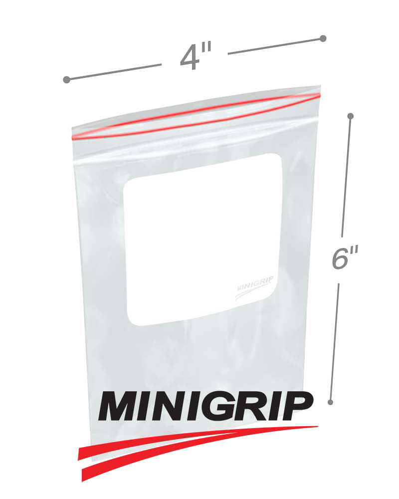 100 4x6 RESEALABLE PLASTIC ZIPLOC BAGS 2 MIL WITH WHITE BLOCK