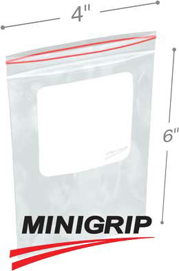 4x6 4Mil Minigrip Reclosable Plastic Bags with Whiteblock