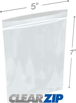 5x7 1.25 mil clear zip reclosable bags