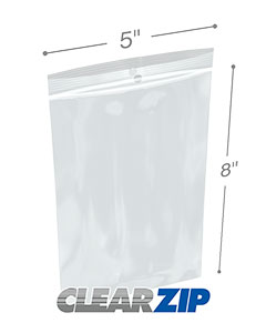 5 x 8 Hang Hole Zipper Locking 2 Mil  Polypropylene Bags
