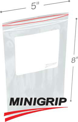 5x8 2Mil Minigrip Reclosable Plastic Bags with Whiteblock