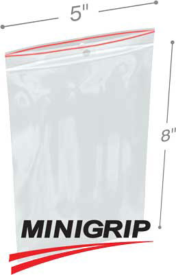 5x8 4Mil MiniGrip Reclosable Plastic Bags with Hang Hole