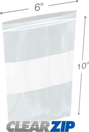 6x10 White Block Zipper Lock Bags
