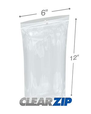 6 x 12 2 Mil Zipper Locking Bags with Hanghole