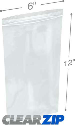 6 x 12 Clearzip® Lock Top 2 Mil Bags