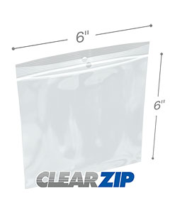 6 x 6 Hang Hole Zipper Locking 2 Mil  Polypropylene Bags