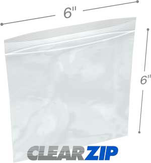 6x  6 Clearzip® Lock Top 2 Mil Bags