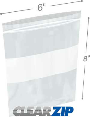 6x8 White Block Zipper Lock Bags