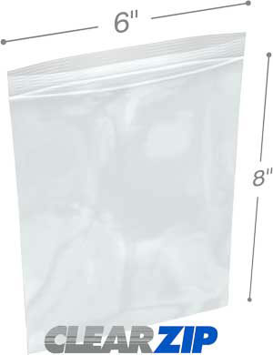 6x8 3 mil clear zip reclosable bags
