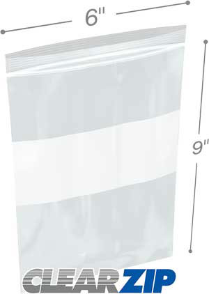 6x9 White Block Zipper Lock Bags