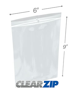 6 x 9 Hang Hole Zipper Locking 2 Mil  Polypropylene Bags